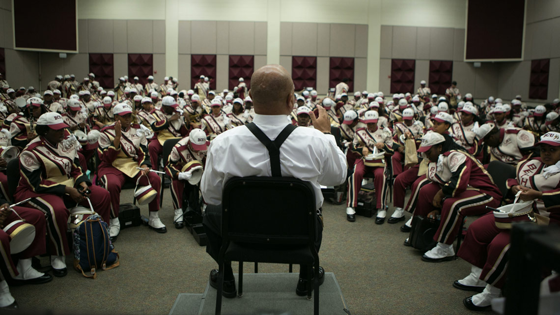 Band Leader, Director, Donovan Wells, Satan, Devil, Performance Ready, Bethune-Cookman University, BCU, Marching Wildcats, Marching Orders, Stage 13 Original, stage13network