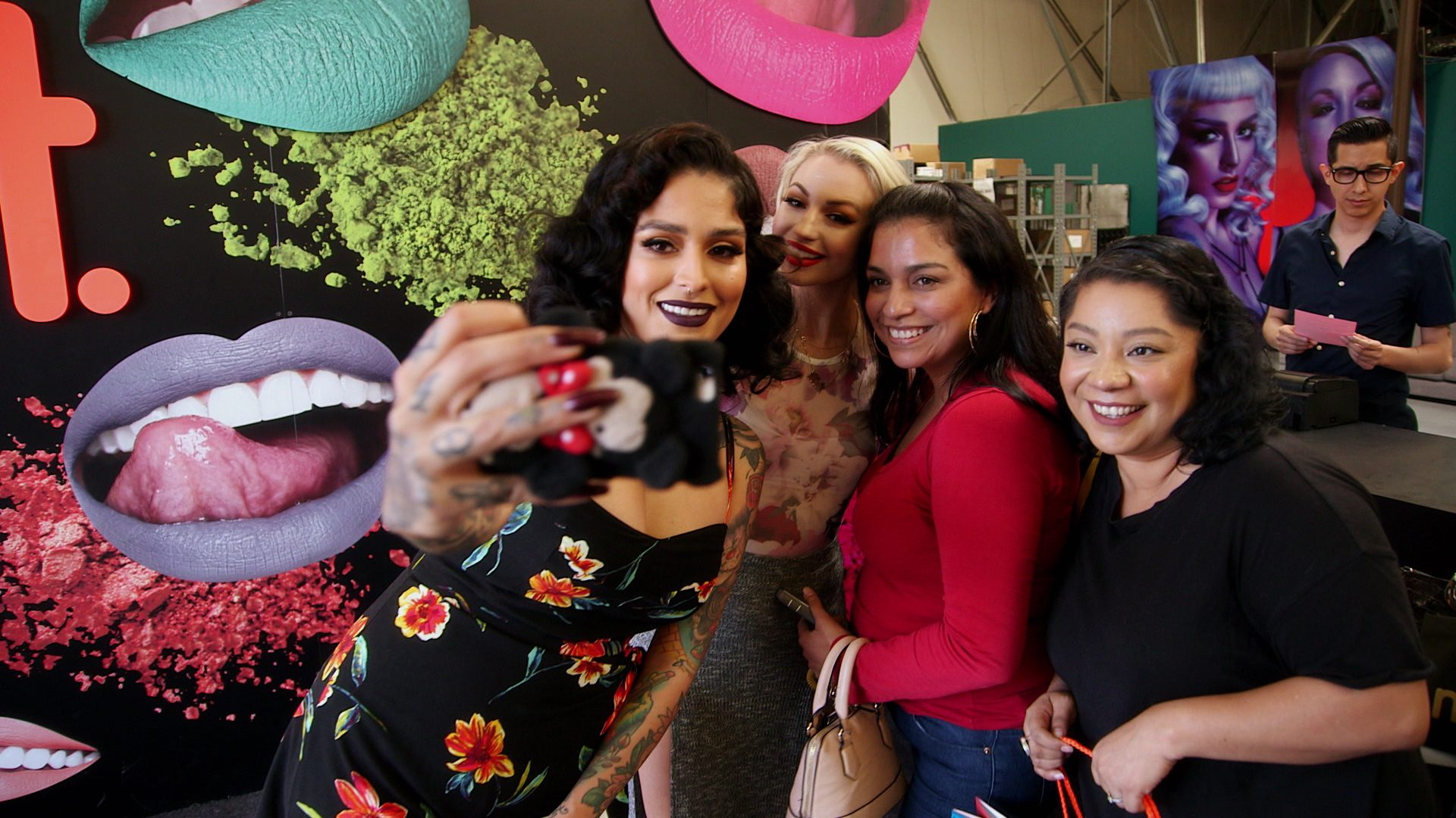 Lora Arellano, Dana Bomar, Co-Founders, CEOs, Makeup Besties, Beauty Business Partners, Female Entrepreneurs, Melt Cosmetics, Selfie With Fans At BBQ Sale, Lipstick Empire, Stage 13 Original, stage13network