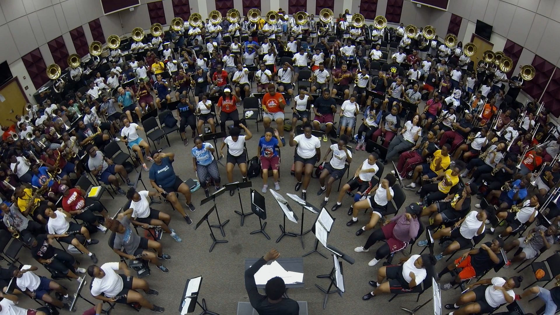 Band Practice, Rehearsal, Before Queen City Battle Of The Bands, Bethune-Cookman University, BCU, Marching Wildcats, Marching Orders, Stage 13 Original, stage13network
